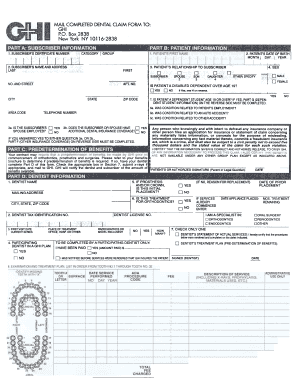 Ghi Dental Claim Form - Fill Online, Printable, Fillable, Blank ...
