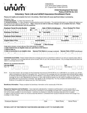 Unum Voluntary Life Enrollment Form - Fill Online, Printable ...