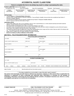 Aflac Accidental Injury Claim Form Fill Online Printable