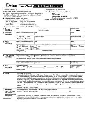 Exxonmobil Medical Plan Claim Form - Fill Online ...