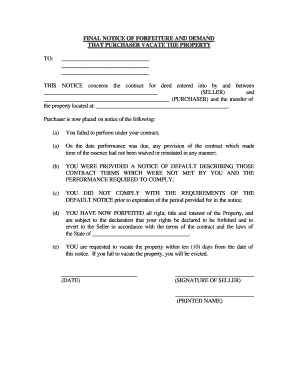 Ohio Final Notice Of Forfeiture And Request To Vacate Property Under  Contract For Deed  Eviction Notice Template Word