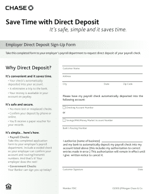 Chase Direct Deposit Form 2016 - Fill Online, Printable, Fillable ...