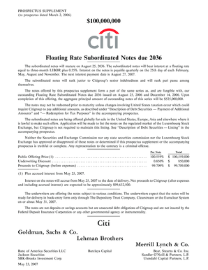 100000000 Floating Rate Subordinated Notes due 2036  - Citigroup