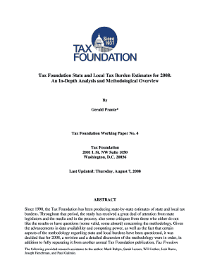 Tax Foundation State and Local Tax Burden Estimates for 2008: An  - taxfoundation