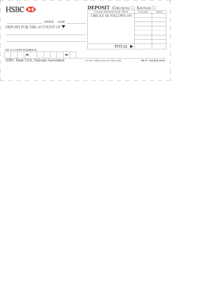 Hsbc Deposit Slip - Fill Online, Printable, Fillable, Blank | PDFfiller