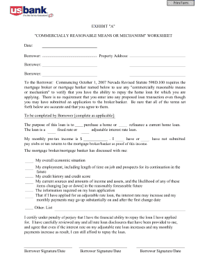 commercially reasonable means or mechanisms worksheet form