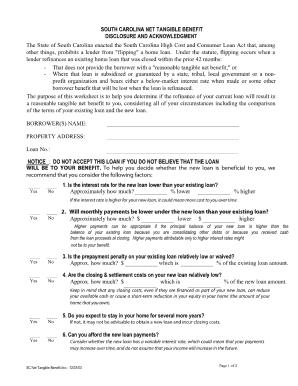 South Carolina Net Tangible Benefit Worksheet - Fill Online ...