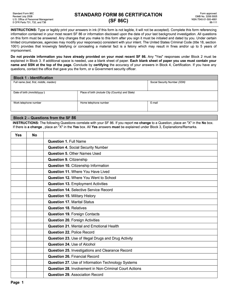 2008-2019 Form OPM SF 86C Fill Online, Printable, Fillable, Blank