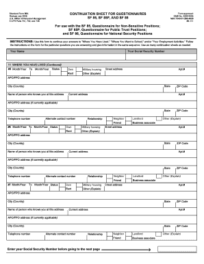 Forms Sf 85 - Fill Online, Printable, Fillable, Blank | PDFfiller