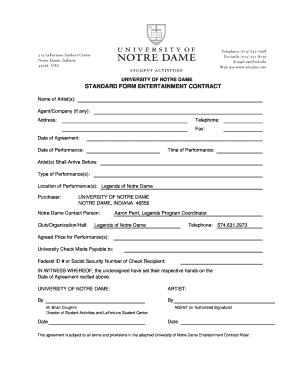 university of notre dame standard entertainment form contract