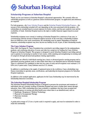 Suburban Hospital Scholarship Form