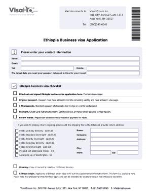 Fillable Visa Application For Ethiopia - Fill Online