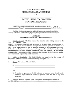 operating agreement llc arkansas  Fillable Online Arkansas Single Member Limited Liability Company LLC ...