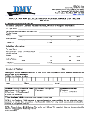 nevada dmv application for salvage title or non repairable vehicle certificate form