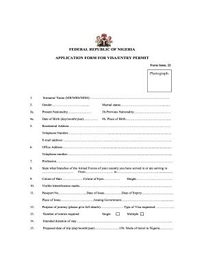 Nigeria Form Application Visa - Fill Online, Printable, Fillable ...