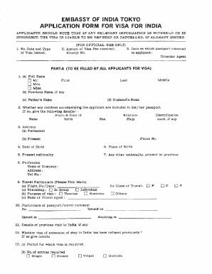 Fillable Online India Visa Form Kabul Fax Email Print Pdffiller
