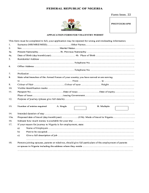 Nigeria Application Form - Fill Online, Printable, Fillable, Blank ...