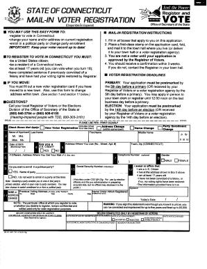 State Of Ct Voter Fillable Registration Form - Fill Online ...