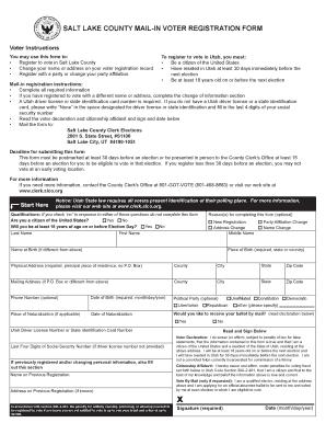 Bill Of Sale Form State Of Utah Mail-in Voter Registration Form ...