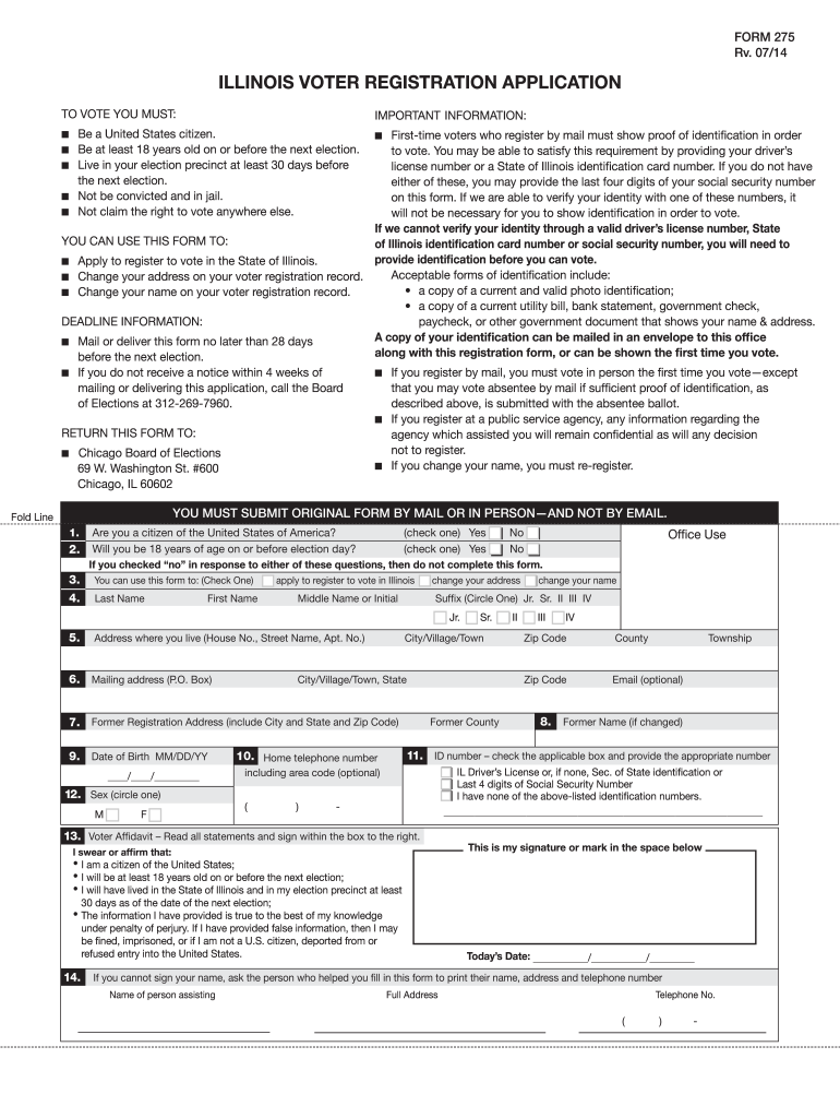 voter registration illinois  fill online printable