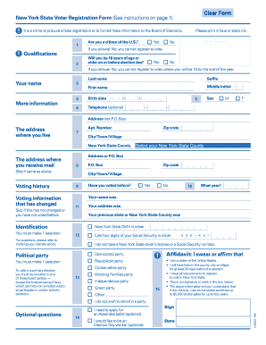 Fillable New York State Voter Registration Form - Fill Online ...
