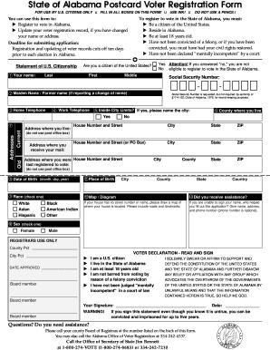 Fillable Online hcu State of Alabama Postcard Voter Registration ...