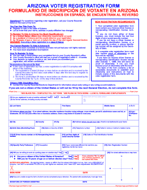 Bill Of Sale Form Arizona Voter Registration Form Templates ...