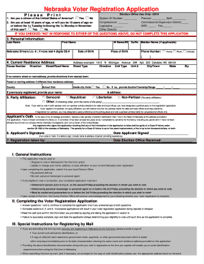 Bill Of Sale Form Nebraska Voter Registration Form Templates