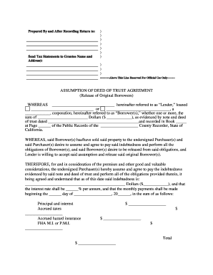 Fillable Online California Assumption Agreement of Deed of Trust ...