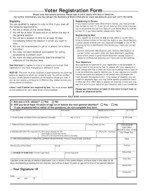 Fillable Online sos state oh Ohio Voter Registration Form - Ohio ...