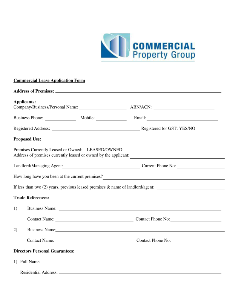 Commercial Lease Agreement Template Fill Online Printable