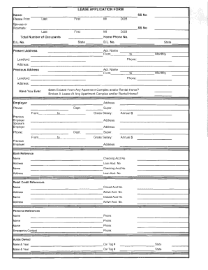 rate this form - Lease Application Form