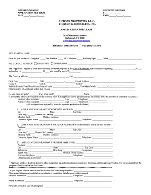residential lease application template richmond va form