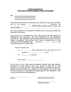 forfeiture notice template - fillable online south dakota notice of default for past