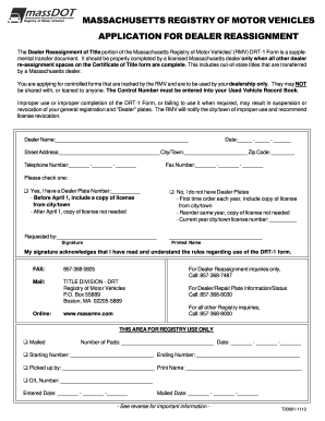 Mass dealer reassignment form fill online printable for Commonwealth of massachusetts motor vehicle crash report