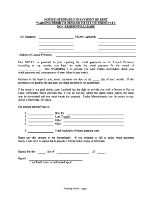 notice of default letter template - commercial lease notice of default fill online