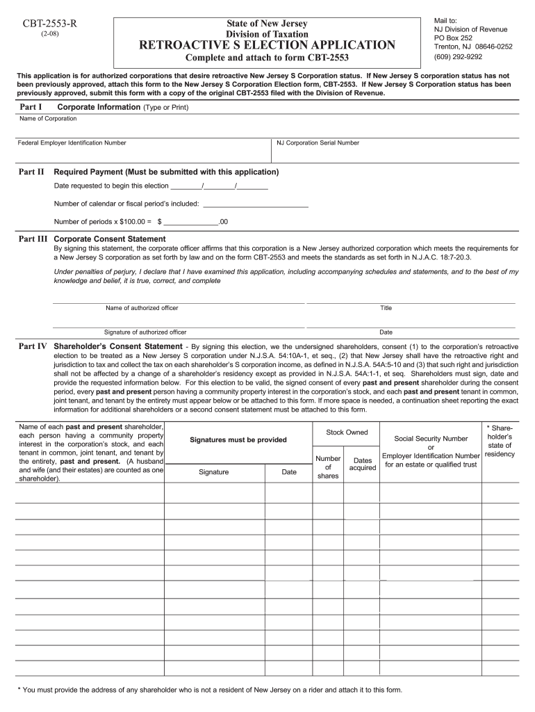 Form 2553 nj dot cbt-2553-r 2008 - fill out tax template online | us