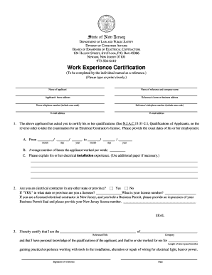 board of examiners of electrical contractors nj work experience certification form