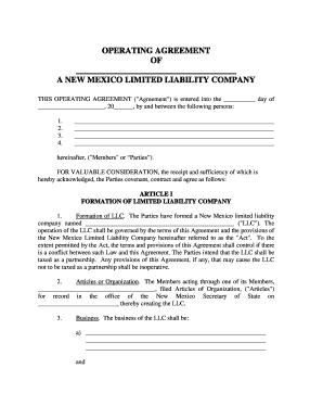 Fillable Online New Mexico Limited Liability Company LLC Operating - New mexico llc operating agreement