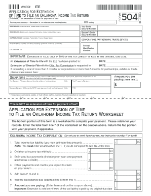 Fillable Online tax ok oklahoma extension fillable form ...