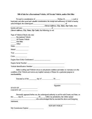 Generic Motorcycle Bill Of Sale Form