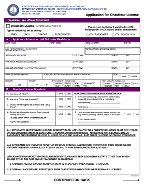 Ri Chauffeur S License Fill Online Printable Fillable Blank Pdffiller