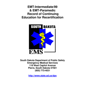Fillable Online dps sd EMT-Intermediate/99 - dps sd Fax Email Print on emergency treatment consent form, emergency physician record example, emergency room check in form,
