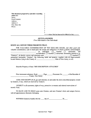 quitclaim deed example form