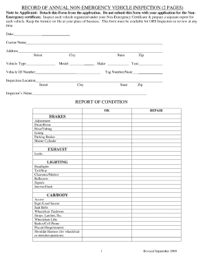 dot annual inspection forms