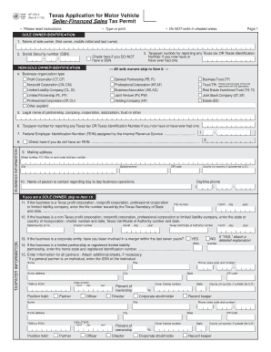 Fillable texas vehicle title application pdf fill online for Retail installment contract motor vehicle