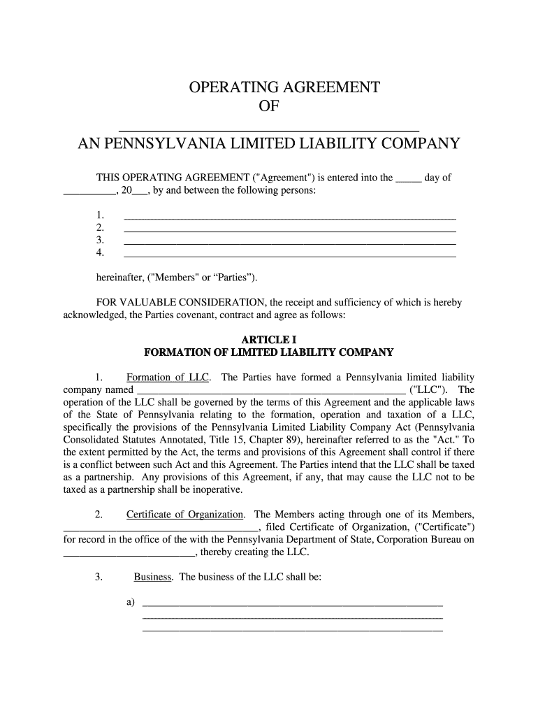 Pa Llc Operating Agreement Fill Online Printable