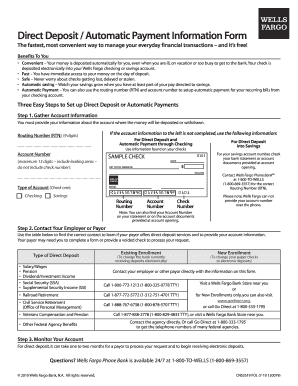 wells fargo ach form direct deposit authorization form quickbooks Templates - Fillable ...