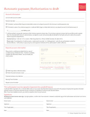 Wells Fargo Automatic Payment Authorization - Fill Online, Printable