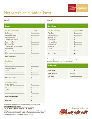 Net Worth Form Wells Fargo - Fill Online, Printable, Fillable ...
